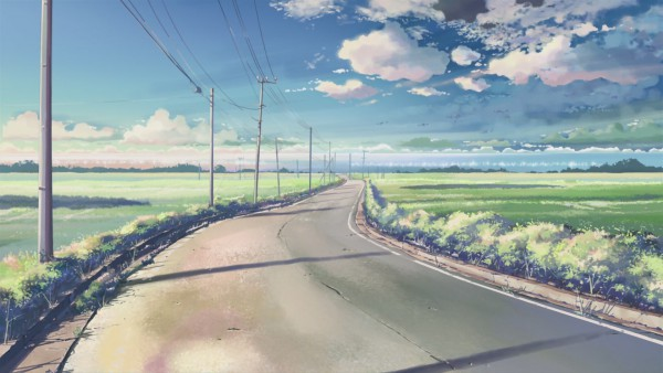 Tags: Anime, Makoto Shinkai, 5 Centimeters Per Second, Scenery, Street, Field, Bushes