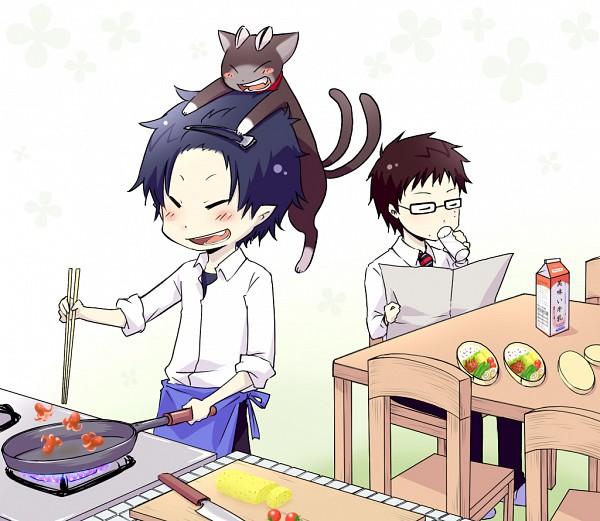Tags: Anime, Ao No Exorcist, Okumura Rin, Okumura Yukio, Kuro (Ao No Exorcist)