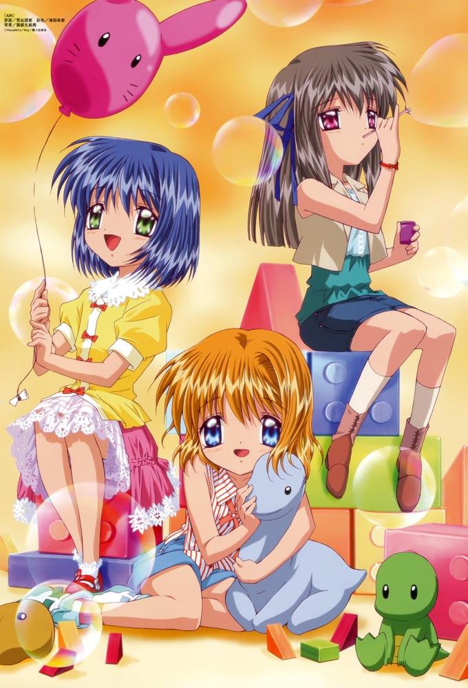Tags: Anime, KEY (Studio), Kyoto Animation, AIR, Kamio Misuzu, Kirishima Kano, Tohno Minagi, Lego, Blowing, Dinosaur, Blocks, Stuffed Dinosaur, Scan