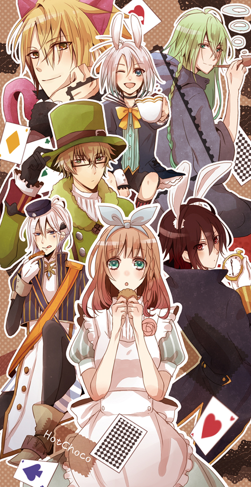 Tags: Anime, Pixiv Id 1895865, AMNESIA, Kent (AMNESIA), Ukyo (AMNESIA), Ikki (AMNESIA), Orion (AMNESIA), Shin (AMNESIA), Heroine (AMNESIA), Toma (AMNESIA), Spade (Card), Alice in Wonderland (Parody), Clubs (Card)