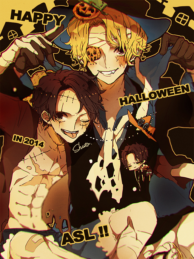 Tags: Anime, Pixiv Id 10357089, ONE PIECE, Portgas D. Ace, Monkey D. Luffy, Sabo, Text: Halloween, Fanart From Pixiv, Mobile Wallpaper, One Piece: Two Years Later, Fanart, Pixiv, ASL