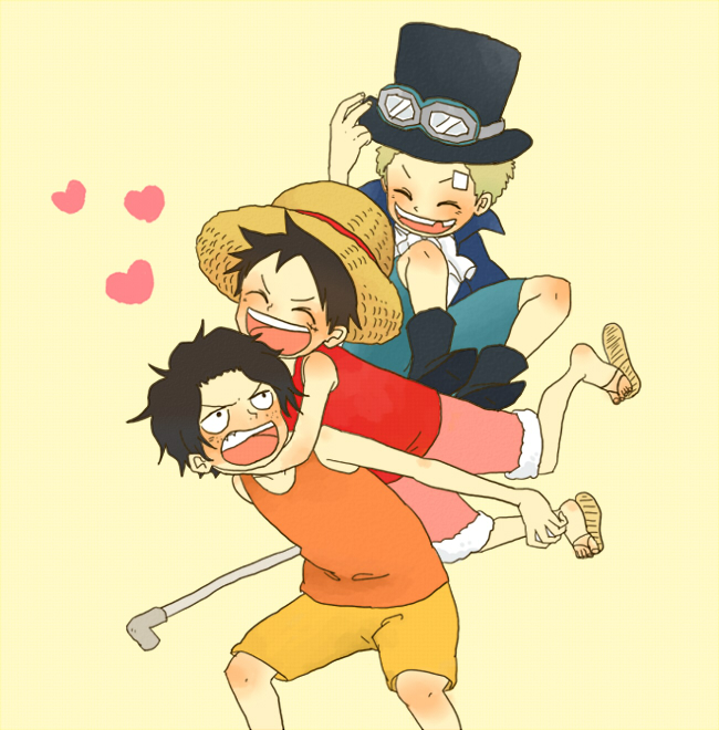 Tags: Anime, Pixiv Id 1354431, ONE PIECE, Sabo, Portgas D. Ace, Monkey D. Luffy, Pipe (Plumbing), Flip Flops, ASL