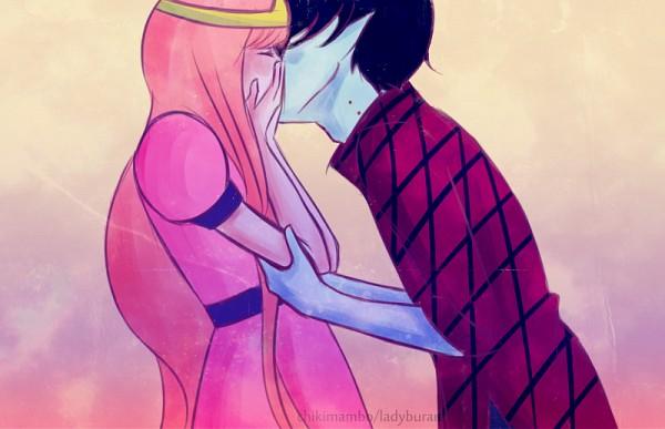 Tags: Anime, Ladyburara, Adventure Time, Princess Bonnibel Bubblegum, Marshall Lee the Vampire King, Pink Dress, Kiss On The Lips