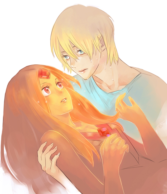 Tags: Anime, Tobeneep, Adventure Time, Finn the Human, Flame Princess, Red Dress, Hand On Arm