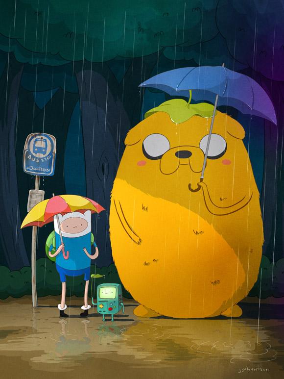 Tags: Anime, Adventure Time, Jake the Dog, Finn the Human, BMO, Waiting, Tonari no Totoro (Parody), Puddle, Jj Harrison, Bus Stop, Fanart, Artist Request, Tumblr