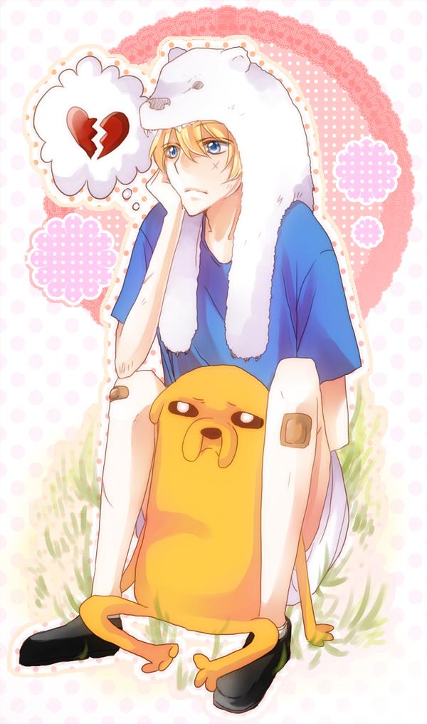 Tags: Anime, Fuugen, Adventure Time, Finn the Human, Jake the Dog, Broken Heart, Bear Hat, deviantART, Mobile Wallpaper