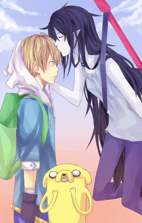 Tags: Anime, Toraifu, Adventure Time, Finn the Human, Marceline Abadeer, Jake the Dog, Bass Guitar, Fanart From DeviantART, deviantART, Fanart, Mobile Wallpaper
