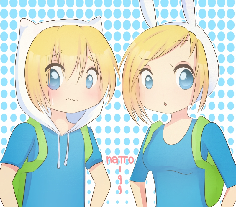 ... Human Girl, Finn the Human, Animal Hat, Bear Hat, Spotted Background
