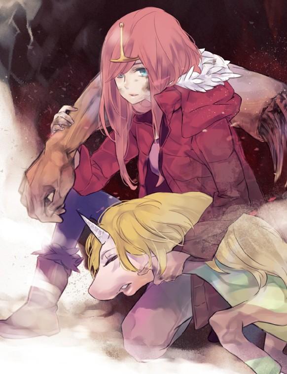 Tags: Anime, Tobeneep, Adventure Time, Princess Bonnibel Bubblegum, Lady Rainicorn, Pink Hoodie, Fanart