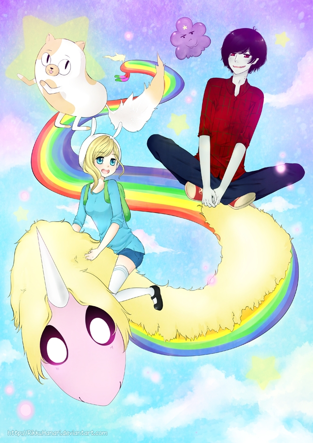 Tags: Anime, Rikkuhanari, Adventure Time, Fionna the Human Girl, Lumpy Space Princess, Lady Rainicorn, Cake the Cat, Marshall Lee the Vampire King, Self Made, Mobile Wallpaper