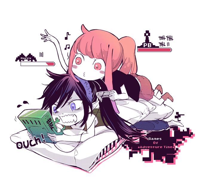 Tags: Anime, Tobeneep, Adventure Time, BMO, Princess Bonnibel Bubblegum, Marceline Abadeer, Pink Skin, Fanart, Bubbline