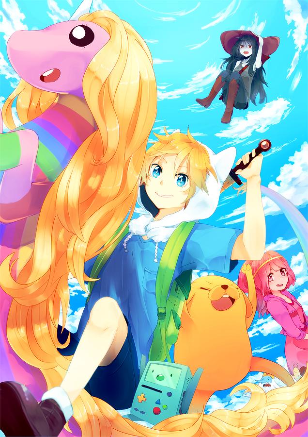 Tags: Anime, Shiuka (Shiupiku), Adventure Time, Ice King, Marceline Abadeer, Princess Bonnibel Bubblegum, Jake the Dog, BMO, Lady Rainicorn, Finn the Human, Pink Skin, Snail, Mobile Wallpaper