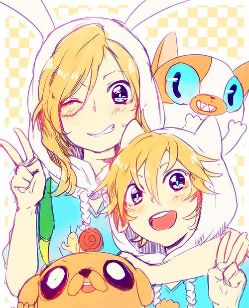 Tags: Anime, Shiuka (Shiupiku), Adventure Time, Cake the Cat, Finn the Human, Fionna the Human Girl, Jake the Dog, Fanart, Tumblr