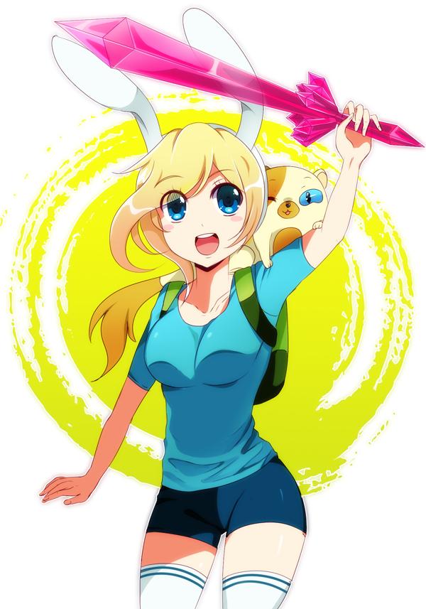 Tags: Anime, Sukihi, Adventure Time, Cake the Cat, Fionna the Human Girl, Teal Shirt, Bunny Hat, Fanart, PNG Conversion, Fanart From DeviantART, deviantART, Mobile Wallpaper