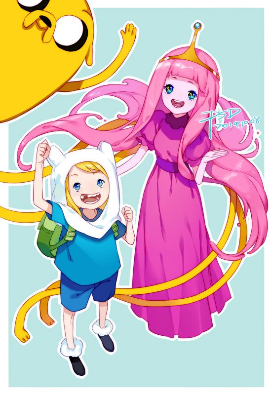 Tags: Anime, PSD, Adventure Time, Princess Bonnibel Bubblegum, Jake the Dog, Finn the Human, Mobile Wallpaper, Pixiv, Fanart From Pixiv, Fanart