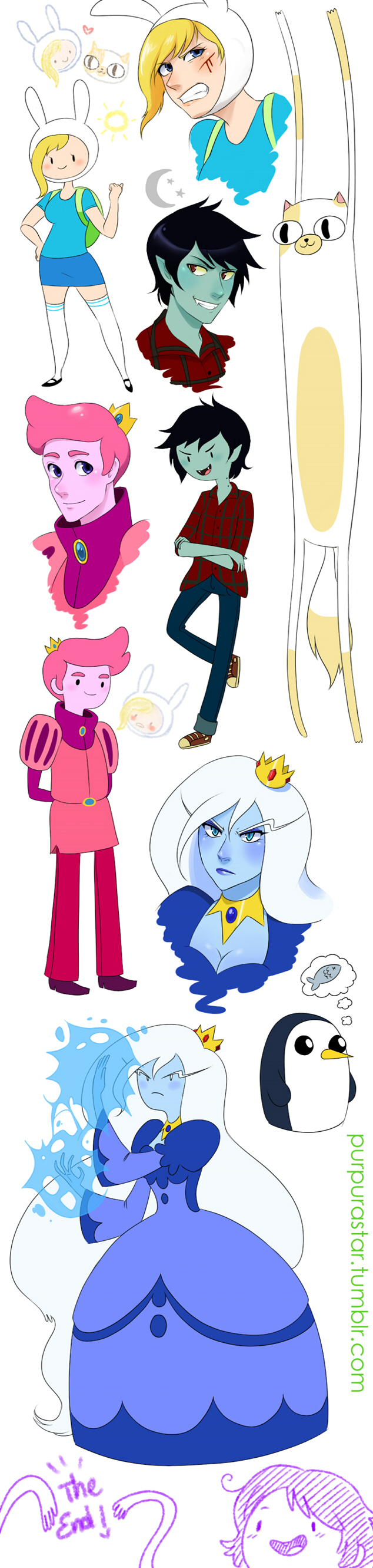 Tags: Anime, Purple-Star-6, Adventure Time, Cake the Cat, Marshall Lee the Vampire King, Fionna the Human Girl, Prince Bubba Gumball, Ice Queen (Adventure Time), Bunny Hat, Pink Skin, deviantART, Fanart From DeviantART, Fanart