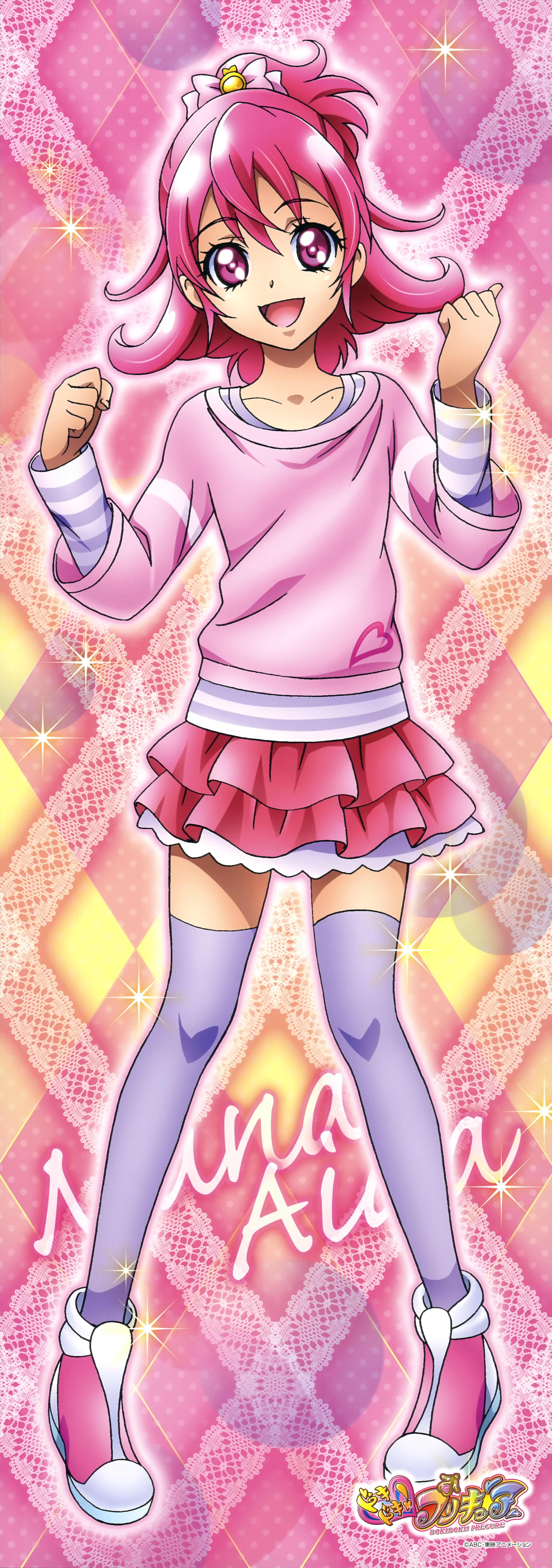 Dokidoki! Precure, Aida Mana, Pink Background, Pink Bow, Clenched Hand