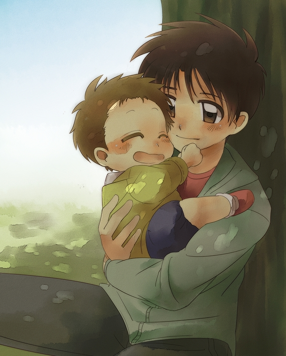 Tags: Anime, Pixiv Id 5201855, Aka-chan to Boku, Enoki Takuya, Enoki Minoru, Under A Tree, Sitting On Grass, Fanart From Pixiv, Pixiv, Fanart, Baby And Me