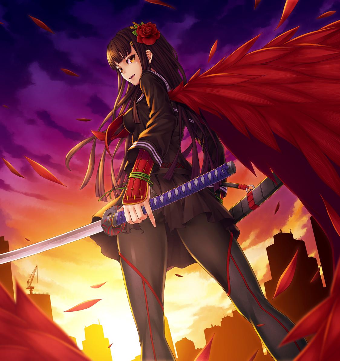 Картинки аниме девушка демон с мечом