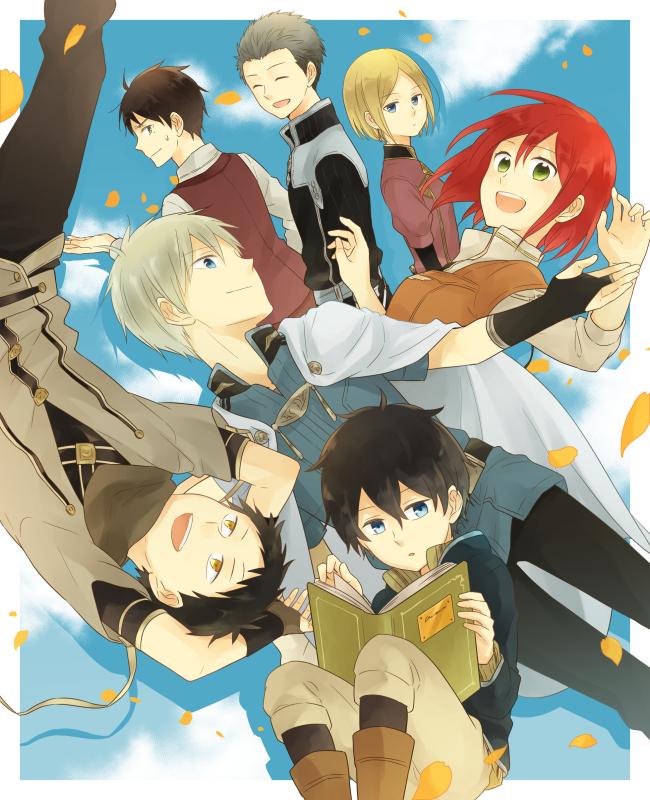 Tags: Anime, Pixiv Id 3308705, Akagami no Shirayukihime, Rouen Mitsuhide, Ryuu (Akagami no Shirayuki Hime), Shirayuki (Akagami no Shirayukihime), Zen Wistalia, Kiki Seiran, Obi (Akagami no Shirayukihime), Raji Shenazard, PNG Conversion