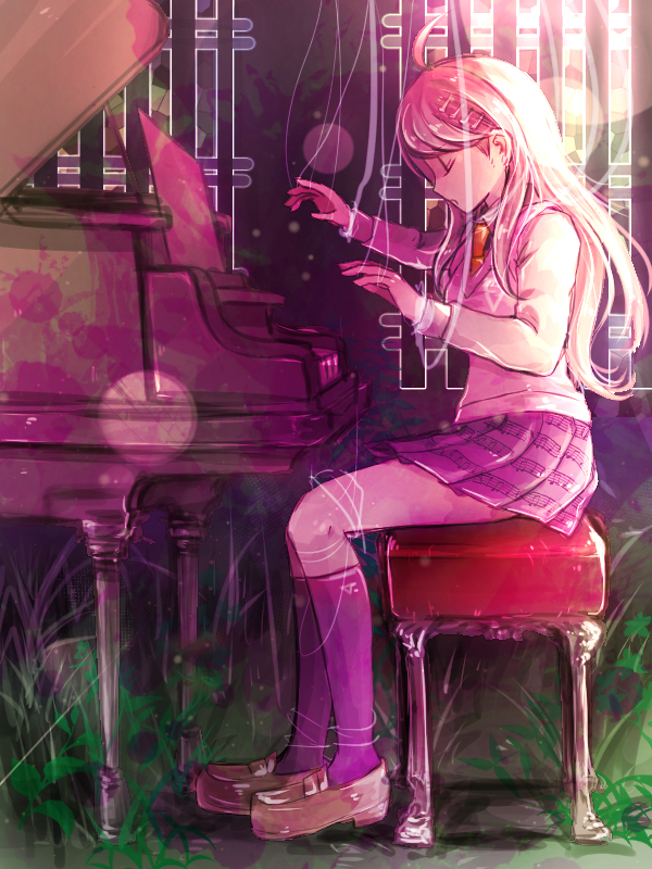 Tags: Anime, Riyuta, New Danganronpa V3, Akamatsu Kaede, Unusual Colored Blood, Purple Legwear, Playing Piano, Pink Vest, Mobile Wallpaper, Tumblr, Fanart