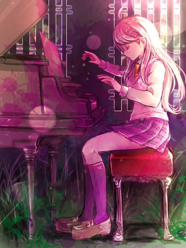 Tags: Anime, Riyuta, New Danganronpa V3, Akamatsu Kaede, Purple Legwear, Playing Piano, Pink Vest, Unusual Colored Blood, Tumblr, Fanart