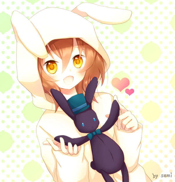 Anime Cute Girl In Cat Hoddie