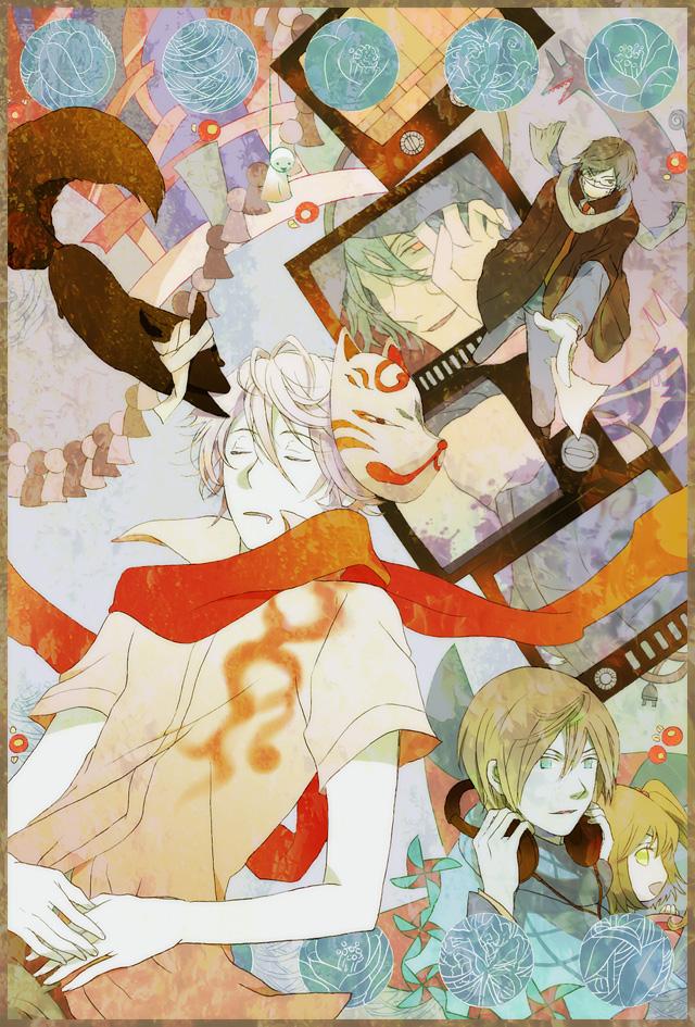 Tags: Anime, 3355 (kpo), Akaya Akashiya Ayakashino, Akiyoshi (Akaya Akashiya Ayakashino), Kurogitsune (Fox), Yue (Akaya Akashiya Ayakashino), Tougo Tsubaki, Fanart From Pixiv, Pixiv, Fanart