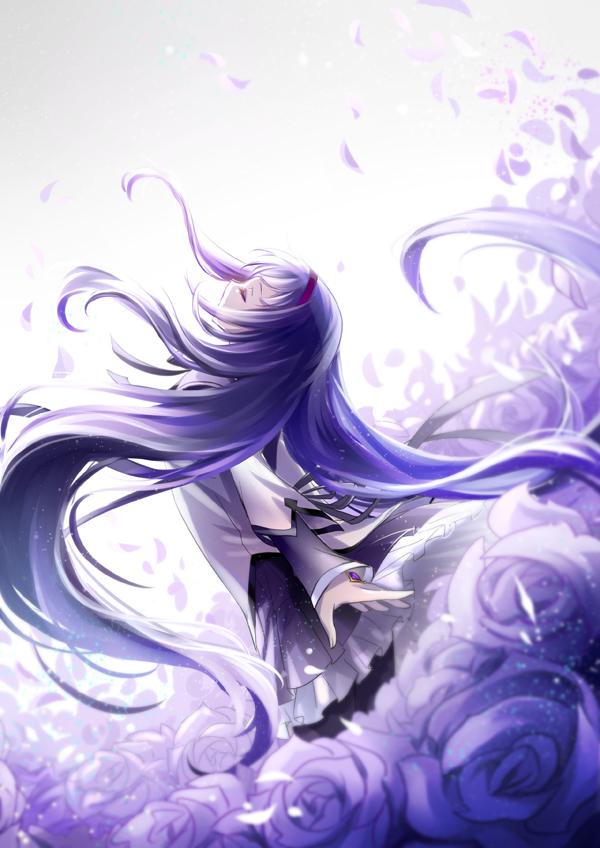 Tags: Anime, Minland4099, Mahou Shoujo Madoka☆Magica, Akemi Homura, Purple Gem, Head Up, Gray Ribbon, Peaceful, Fanart, Fanart From DeviantART, deviantART, Mobile Wallpaper