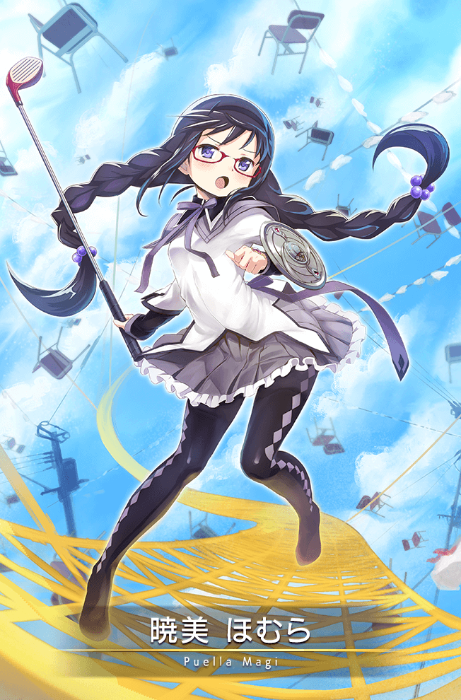 Tags: Anime, Sasagi Koushi, f4samurai, Magia Record: Mahou Shoujo Madoka☆Magica Gaiden, Akemi Homura, Golf Club, Argyle Legwear, Official Art, Official Card Illustration