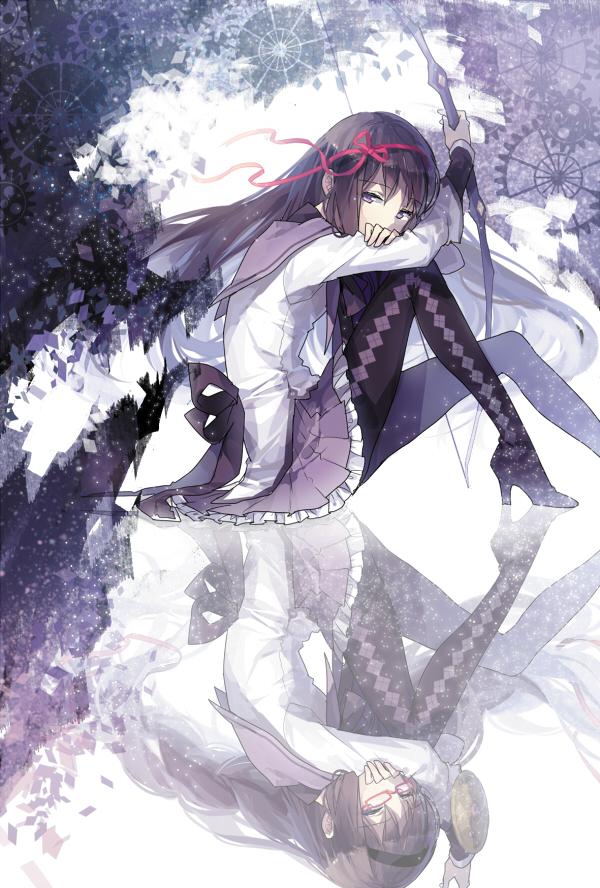 Tags: Anime, Rella, Mahou Shoujo Madoka☆Magica, Akemi Homura, Archer (Warrior), Argyle Legwear, Mobile Wallpaper