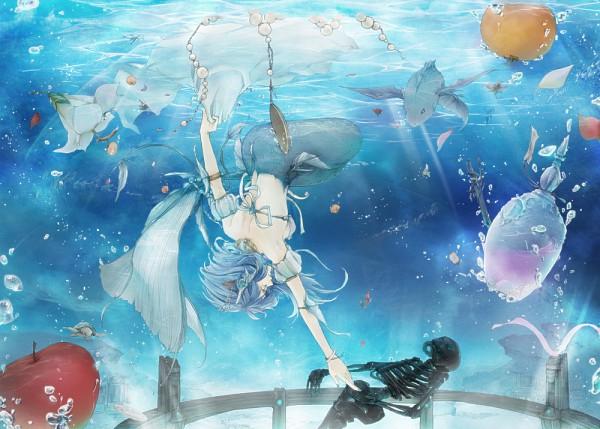 Tags: Anime, Akemori, Mermaid, Upside Down, Apple, Underwater, Skeleton