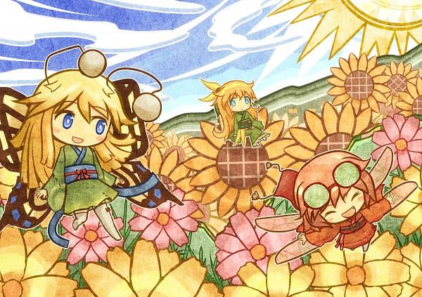 Tags: Anime, Akihiyo, Yellow Flower, Field, Butterfly (Personification), Flower Field, Insect (Personification)