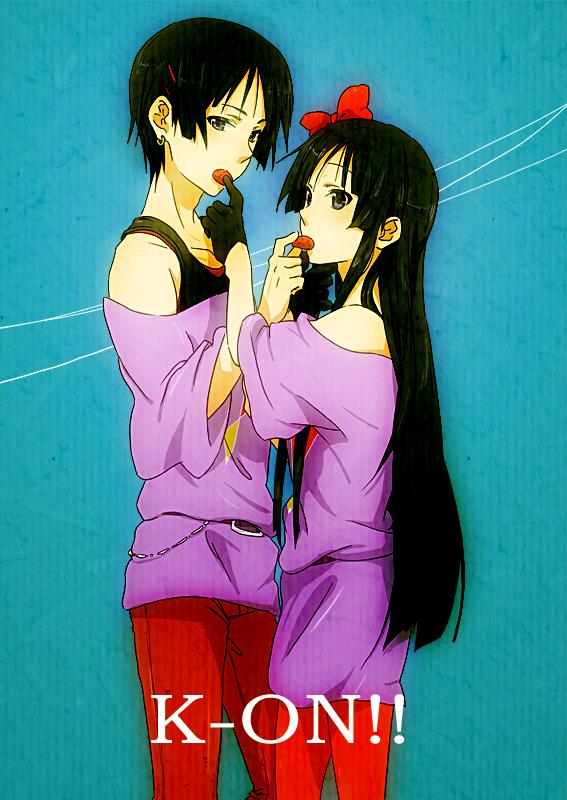 Tags: Anime, Tsukimushi, K-ON!, Akiyama Mio, Red Pants, Listen!!, Mobile Wallpaper, Mio Akiyama