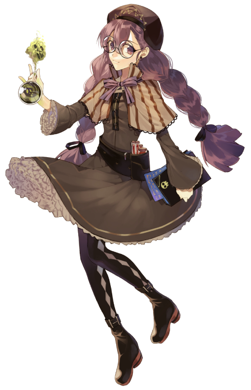 Tags: Anime, pig ggul, Cookie Run, Alchemist Cookie, Brown Dress, Purple Neckwear, Brown Hat, Argyle Legwear, Striped Outerwear, Fanart From Pixiv, Mobile Wallpaper, Pixiv, Fanart