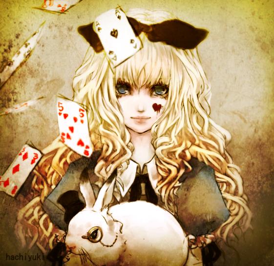 Tags: Anime, Hachiyuki, Alice in Wonderland, White Rabbit, Alice (Alice in Wonderland), Monocle, Spade (Card)