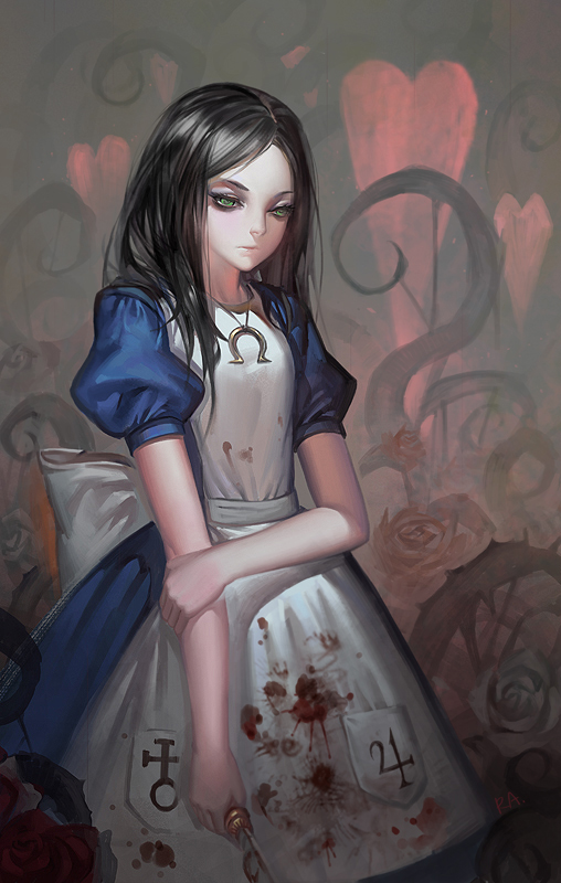 Tags: Anime, Alphonse, Alice in Wonderland, American McGee's Alice: Madness Returns, Alice (American McGee's), Pixiv, Mobile Wallpaper, Fanart