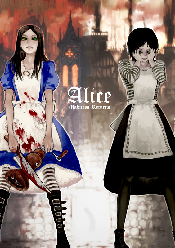 Tags: Anime, Mutsunn, American McGee's Alice, American McGee's Alice: Madness Returns, Alice (American McGee's), Blood On Weapons, Mobile Wallpaper, Pixiv