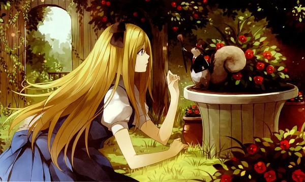 Tags: Anime, Pixiv Id 3494674, Alice in Wonderland, Alice (Alice in Wonderland), On Stomach, Cane, Vase