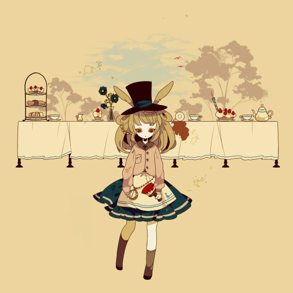 Tags: Anime, Shikimi, Alice in Wonderland, Table, Watch, Cake, Teacup
