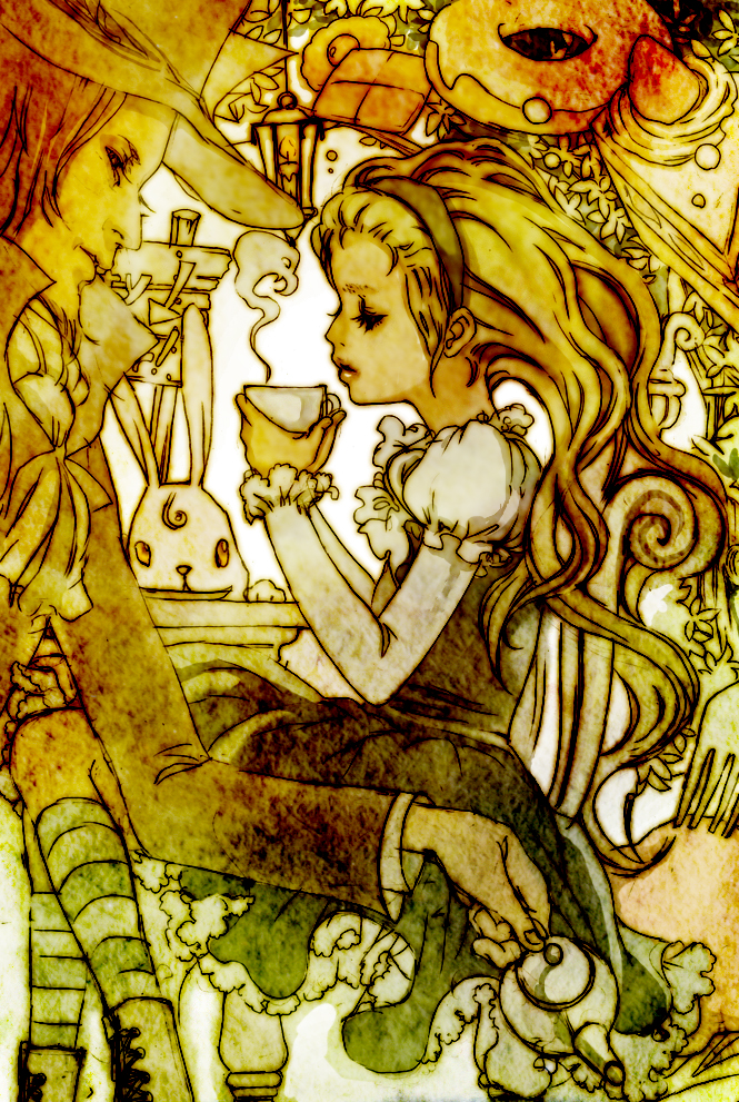 Tags: Anime, Nanami Rio, Alice in Wonderland, Mad Hatter, March Hare, Alice (Alice in Wonderland), Pixiv