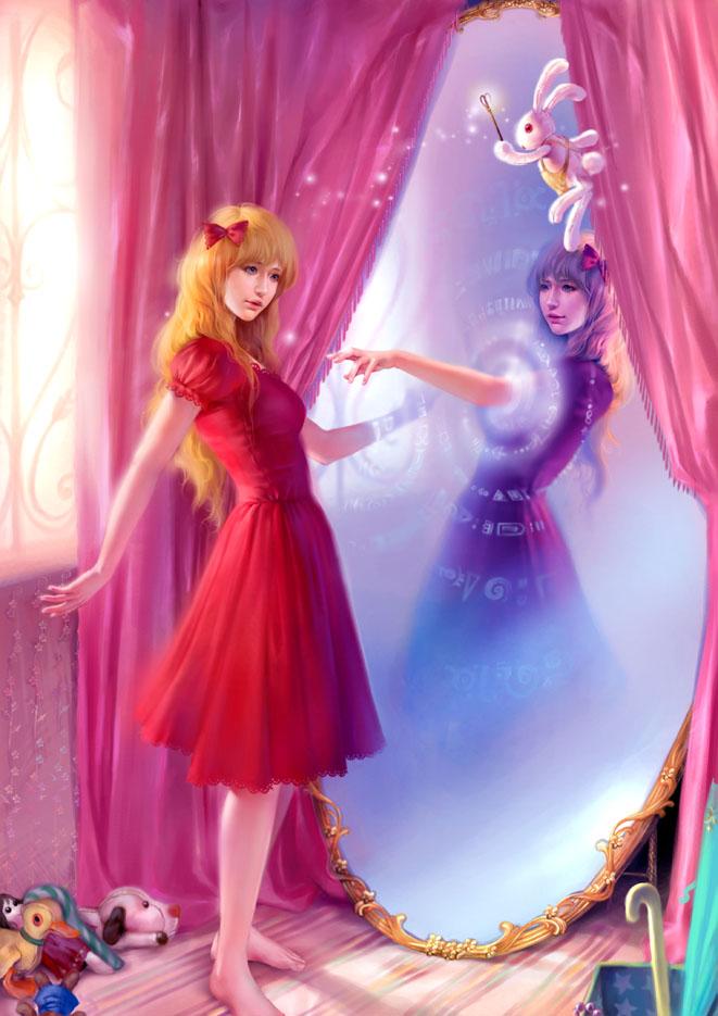 Tags: Anime, Lian-blackdream, Alice in Wonderland, Alice (Alice in Wonderland), White Rabbit, Different Reflection, Stuffed Dog, Stuffed Duck, deviantART, Mobile Wallpaper