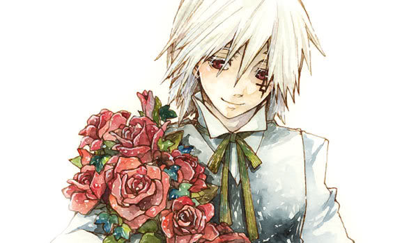 Tags: Anime, Hoshino Katsura, D.Gray-man, Allen Walker, Looking Down, Bow Tie