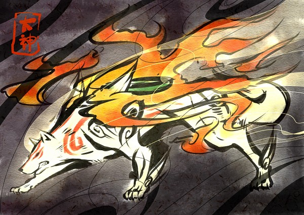 Tags: Anime, Mackerel (Artist), Okami, Amaterasu, Fire, No People, Wolf