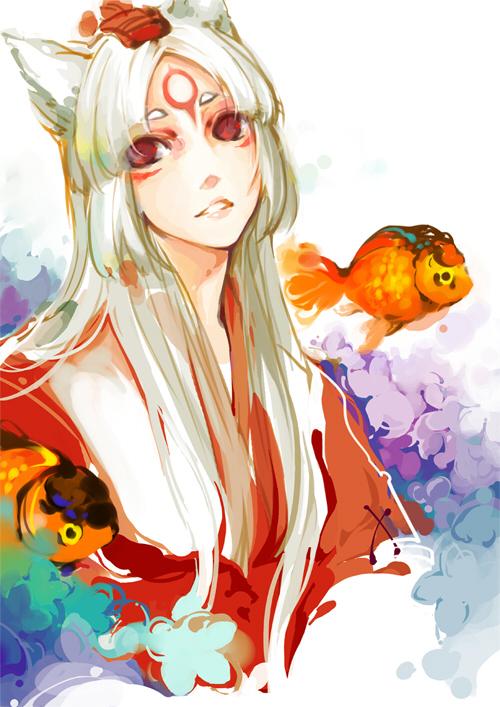 Tags: Anime, Vetvsky, Okami, Amaterasu, Fanart, Fanart From Pixiv, Pixiv, Mobile Wallpaper