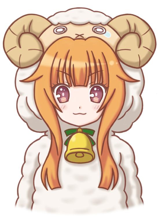 Tags: Anime, Mugen Ouka, GJ-bu, Amatsuka Mao, Sheep Costume, Cowbell, Fanart From Pixiv, PNG Conversion, Pixiv, Happy 2015, Mobile Wallpaper, Fanart