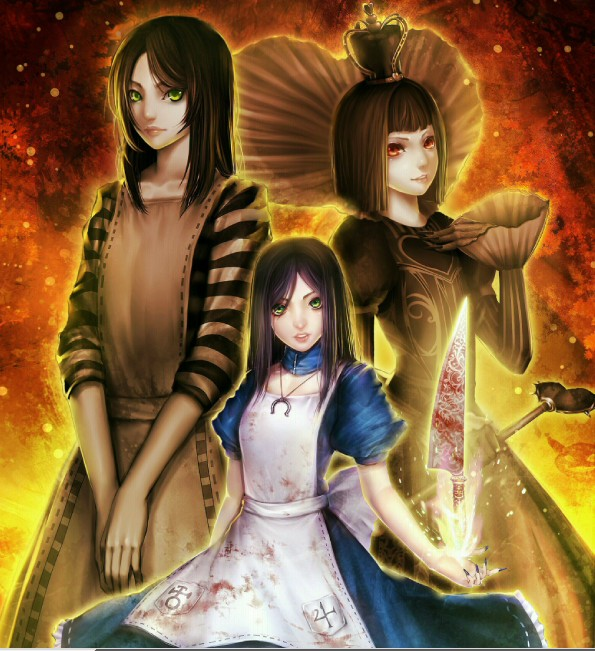 Tags: Anime, Kugi Ta Hori Taira, American McGee's Alice, American McGee's Alice: Madness Returns, Lizzie (Alice Madness Returns), Alice (American McGee's), Queen of Hearts (American McGee's), Pixiv, Fanart, Fanart From Pixiv