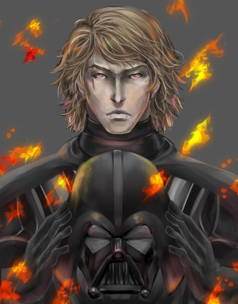 Anime fire evil helmet star wars darth vader anakin skywalker