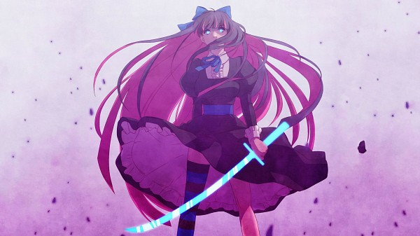 Tags: Anime, Kanahal (Artist), Panty and Stocking With Garterbelt, Anarchy Stocking, Purple Outfit, Glow, Single Thigh High