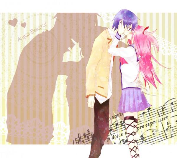 Tags: Anime, Pixiv Id 96140, Angel Beats!, Yui (Angel Beats!), Hinata Hideki, Kiss On The Lips